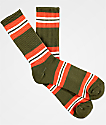 Zine Horizontal Dark Olive & Ochre Orange Crew Socks