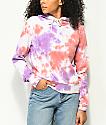 Zine Kahleah Purple & Peach Tie Dye Crop Hoodie