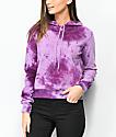 Zine Kahleah Purple Tie Dye Crop Hoodie