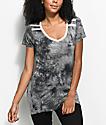 Zine Kalene Grey & Black Tie Dye Ringer T-Shirt