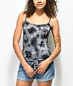 Zine Luna camiseta sin mangas gris con efecto tie dye