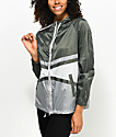 Zine Marla Olive, White & Grey Full Zip Windbreaker