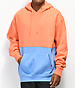 Zine Mass Coral & Blue Colorblock Hoodie