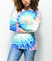 Zine Monroe Pink & Blue Spiral Tie Dye Long Sleeve T-Shirt
