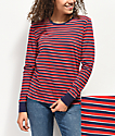 Zine Monroe Red & Navy Striped Long Sleeve T-Shirt