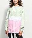 Zine Neve Mint, White & Pink Pullover Windbreaker Jacket