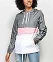 Zine Neve chaqueta cortavientos en gris, blanco y rosa