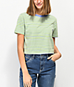 Zine Quinn Lime & White Stripe Crop T-Shirt