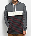 Zine Rafi Grey & Cream Striped Hooded T-Shirt