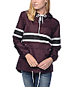 Zine Shiloh Burgundy & Black Stripe Packable Windbreaker