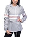 Zine Shiloh chaqueta cortavientos empacable en colores gris y malva