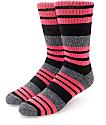 Zine Street Black & Hot Pink Crew Socks