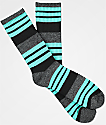 Zine Street Grey, Black & Mint Crew Socks