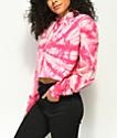 Zine Tariana Hot Pink Tie Dye Crop Hoodie