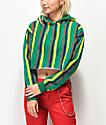 Zine Tariana sudadera de rayas verdes, rojas y doradas