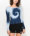 Zine Tavelina Blue Spiral Tie Dye Long Sleeve T-Shirt