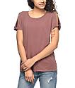 Zine Tresa Rose Taupe Cold Shoulder T-Shirt