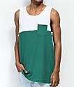 Zine camiseta sin mangas verde y blanca con bolsillo