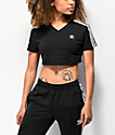 adidas 3-Stripe Black Crop T-Shirt