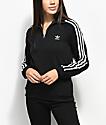 adidas 3 Stripe Black Partial Zip Sweatshirt