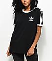 adidas 3 Stripe Black T-Shirt