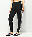 adidas 3 Stripe Cuffed Black Track Pants