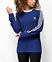 adidas 3-Stripe Dark Blue Long Sleeve T-Shirt