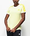 adidas 3 Stripe Ice Yellow T-Shirt