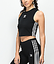 adidas 3 Stripe Trefoil Black Crop Tank Top