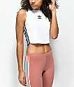 adidas 3 Stripe Trefoil White Crop Tank Top