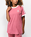 adidas 3 Stripe camiseta de color malva