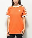 adidas 3 Stripe camiseta naranja fuerte