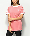 adidas 3 Stripe camiseta rosa claro