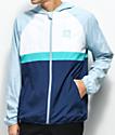 adidas BB chaqueta cortavientos en gris, blanco y azul
