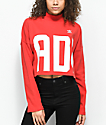 adidas Bold Age Red Mock Neck Crop Sweater