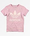 adidas Boys Trefoil Pink T-Shirt
