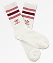adidas Roller White & Burgundy Crew Socks