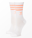 adidas Single White Haze & Coral Crew Socks