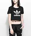 adidas Trefoil Black Crop T-Shirt