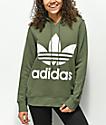adidas Trefoil Logo Green Hoodie