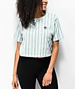 adidas Vertical Stripe Mint Green Crop T-Shirt