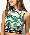 adidas x Farm Pink Palm Mock Neck Sports Bra