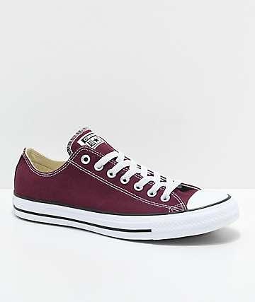 !Converse Chuck Taylor All Star Ox zapatos en color borgoño y blanco