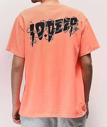 10 Deep Barbed Wire Neon Coral T-Shirt