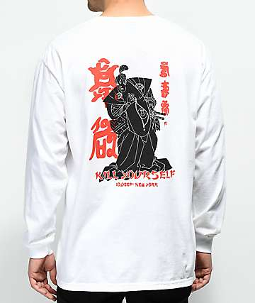10 Deep Belly Full Of Laughs camiseta blanca de manga larga con bolsillo