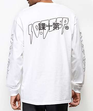 10 Deep Dragon Kanji White Long Sleeve T-Shirt