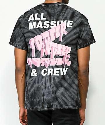 10 Deep Tenth Division Massive camiseta negra con efecto tie dye