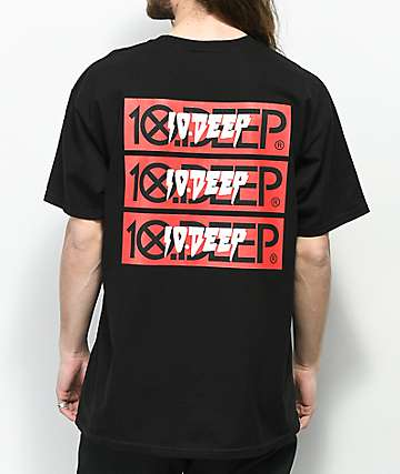 10 Deep Triple Stack III Black T-Shirt