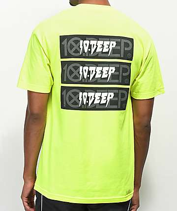 10 Deep Triple Stack III Neon Yellow T-Shirt