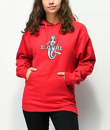 180TIDE Mermaid Bones Red Hoodie